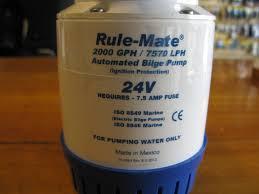 Phụ tùng ca nô, du thuyền: bơm nước lường 24V, bơm chìm tự động RULE MATE 2000 24V